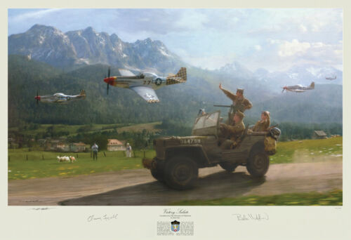 WWII art print 325th FG P-51 Mustangs + Willys Jeep w/ 101st Airborne autographs