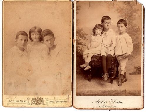 Superb Pair of German Cabinet Card Photos Young Siblings