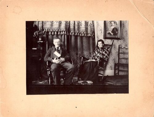 Superb Vintage Photograph of Adirondack Interior with Couple
