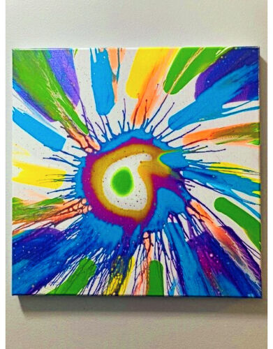 """Original abstract painting sold by artist on 14"""" x 14"""" canvas"""