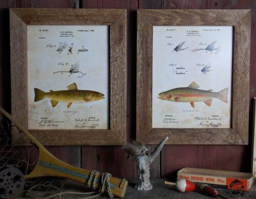 Vintage Fly Fishing Patent Art Prints (Set 2) 8x10 Unframed Rainbow Brown Trout