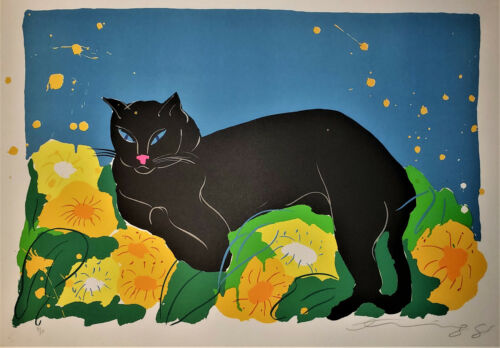 WALASSE TING The Black Cat 1988 HAND SIGNED Ltd. Edition Lithograph SAM FRANCIS