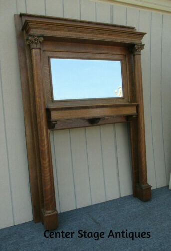 62333 Antique Victorian Fireplace Mantel with Mirror