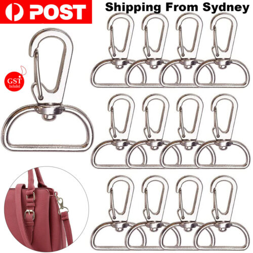 10X Silver 20mm Lobster Clasp Swivel Trigger Clip Keychain Snap Hook Key Ring DI