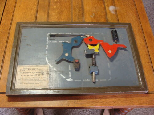 Russian mechanical model wall hanger, WORKS red blue yellow INDUSTRIAL