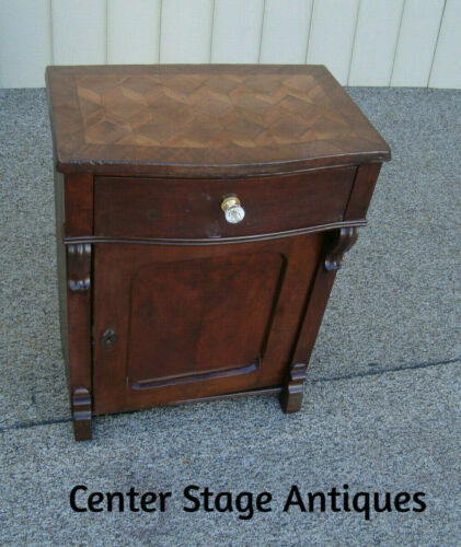 59113 Antique Custom Hand Made  Inlaid Nightstand End Table Stand