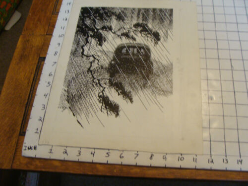 Commercial ART by C.E.B.B.: 1938 Couple in Car in Rain in Ink plus same on tissu