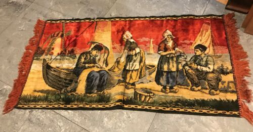 """Vintage Velvet Tapestry Dutch Scene People Boats Working Gold Red Brown  40""""x 21"""
