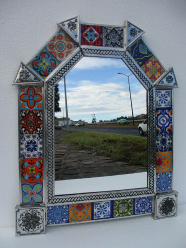 """PUNCHED TIN MIRROR with talavera tile mexican folk art wall decoration 18"""" X 15"""""""