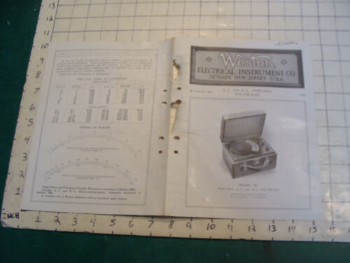 orig. 1915 WESTON Electric inst. bulletin: PORTABLE A.C. AND D.C. VOLTMETERS
