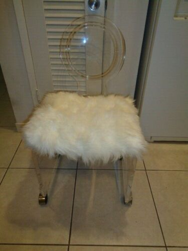 """Vintage Mid Century Lucite Vanity Chair on Wheels and has a back (33.5 by 18"""")"""