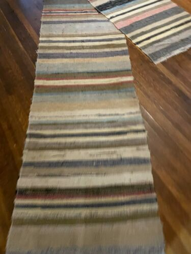 VERY LONG Antique Swedish Hand Made Rag Rug (27 x 185 inches each)