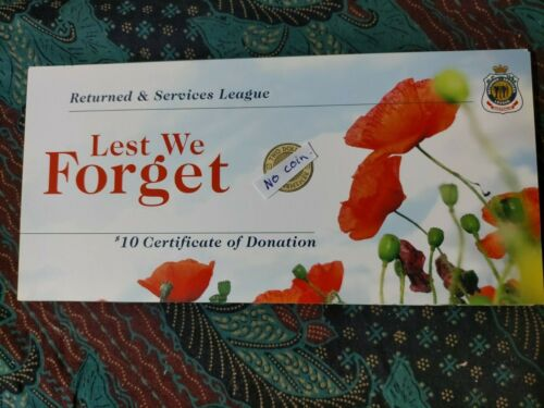 2012 Australia RSL Certificate Card For $2 Red Poppy ANZAC remembrance Coin