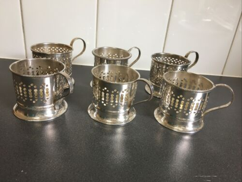 """Six Antique English Tea Glass Holders 2.5 X 2.5"""" In very good condition"""