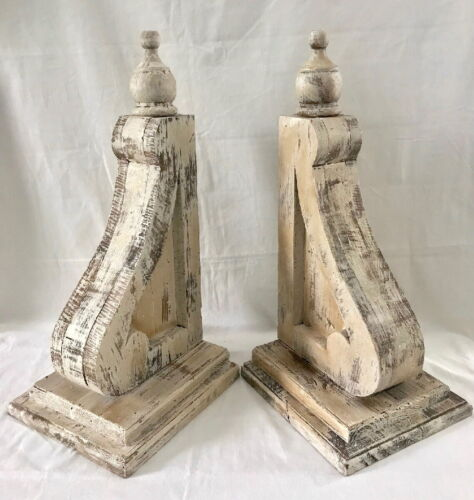 """2 XL SOLID WOOD CORBELS Farmhouse Brackets Island Counter Mantle NEW 20"""" TALL"""