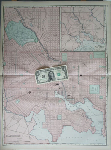 MD 1898 DATED BALTIMORE City Wall Map. WOODBERRY, HAMPDEN, PEABODY HEIGHTS