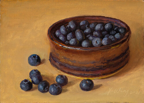 """small original daily painting a day realism still life blueberries 7x5"""", Y Wang"""