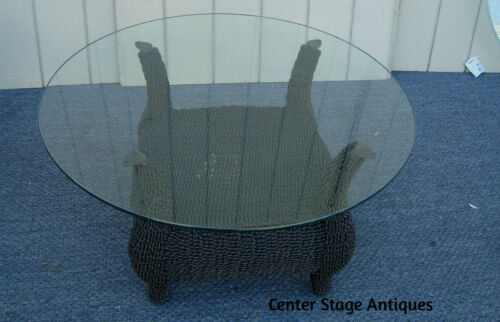 """61834 Plate Glass Wicker Coffee Table Stand  36""""  x 3/8"""" thick top"""