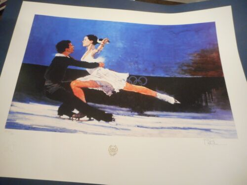 """Bart Forbes HAND SIGNED  art print """" Ice Dancers """" Olympics ice figure skater"""