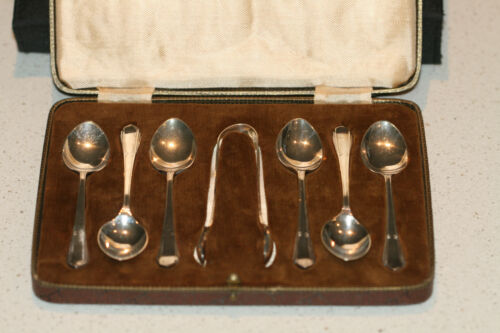 VINTAGE SET 6 TEA SPOONS AND TONGS MADE IN ENGLAND IN ORIGINAL BOX