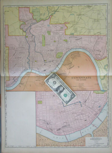 OH DATED 1906 CINCINNATI ENVIRONS SUBURBS + DOWNTOWN, Ohio. 2 Maps on One Sheet.