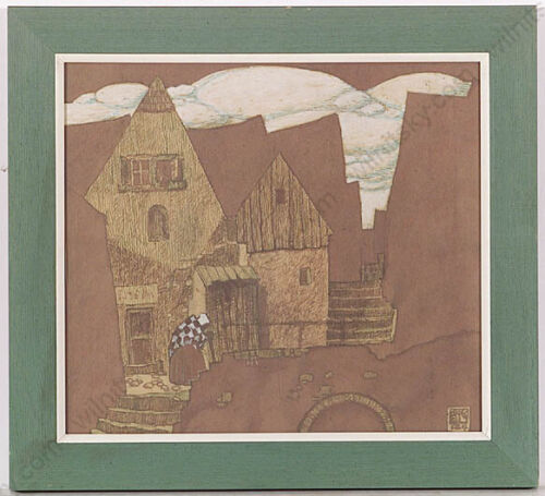 """""""Old Town"""" by Erwin Stolz (1896-1987), watercolor, 1947 (m)"""