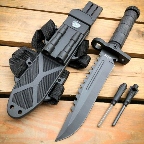 """12.5"""" MILITARY TACTICAL Hunting FIXED BLADE Army  SURVIVAL Knife w Fire Starter"""