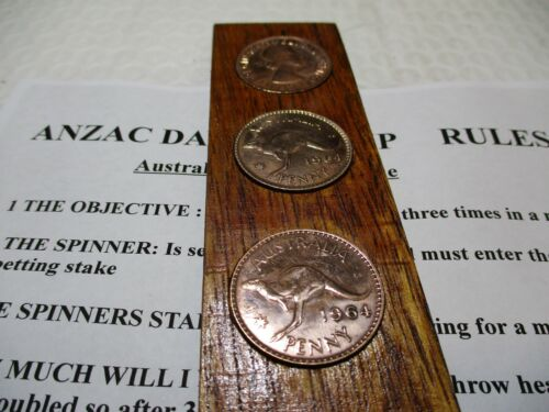 Vintage.1964 The Australian National Game Two Up Set. Including History & Rules.