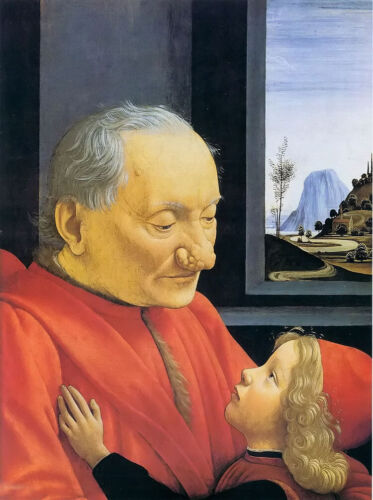 stunning oil painting handpainted on canvas-an old man and his grandson