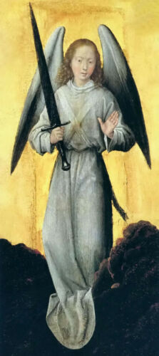 stunning oil painting handpainted on canvas-angel with a sword