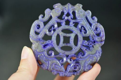 Delicate Chinese Old Jade Carved *Beast&Phoenix* Pendant D29