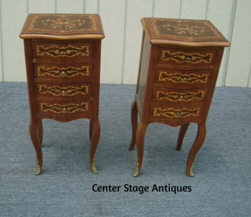 62035   Pair Inlaid Nightstand End Table Stand
