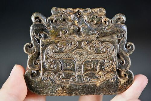 Unique Chinese Black Old Jade Carved * Dragon Axe* Big Pendant D30