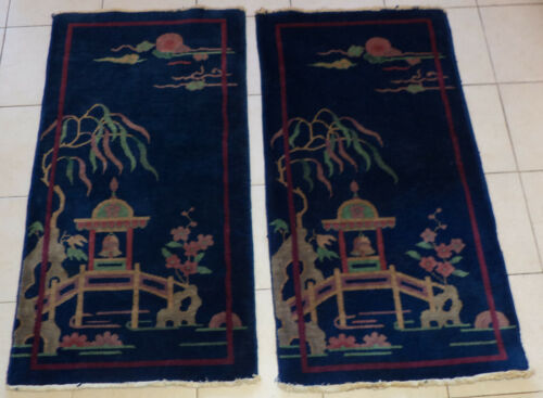 ANTIQUE CHINESE RUGS ART DECO PERIOD PAIR MATCHING RUGS
