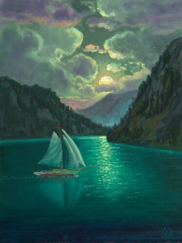 MAX COLE ORIGINAL OIL PAINTINGS SIGNED ANTIQUE VINTAGE STYLE SAILBOAT Moon 65