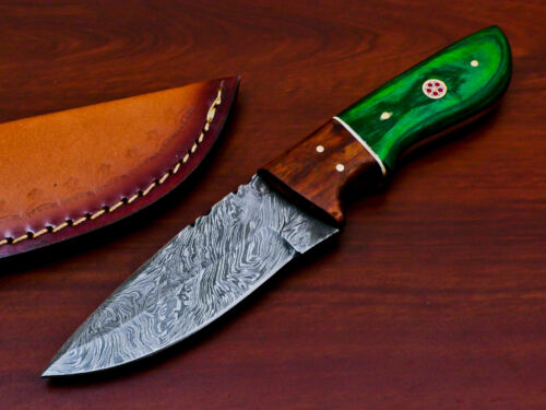 HAND FORGED DAMASCUS STEEL FULL TANG HUNTING KNIFE-HARD WOOD HANDLE- PK-2966