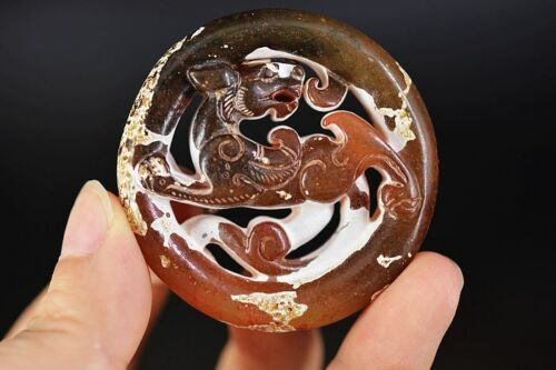 Rare Chinese Old Jade Carved * Flying Beast * Pendant D33