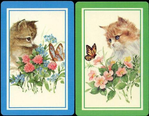 BEAUTIFUL CATS WITH BUTTERFLIES SWAP CARD PAIR NEW CONDITION