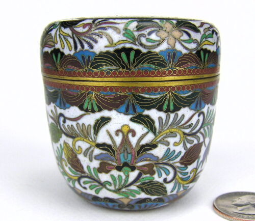 Old Chinese Cloisonné Round Lid Box Jar Dragon Flames Lotus Blossom Enamel Brass