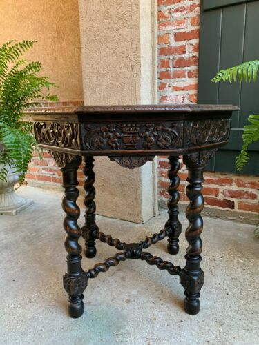 Antique French Octagon Center Side Table Carved Oak Barley Twist Louis XIII