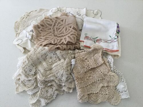 VINTAGE TABLE RUNNERS TOPPERS TABLECLOTH HAND TOWEL PLACEMATS BULK LOT 16 Items