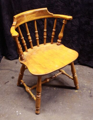 Vintage Antique Old Nichols Stone SOLID Wood Wooden Side Dining Accent Arm Chair