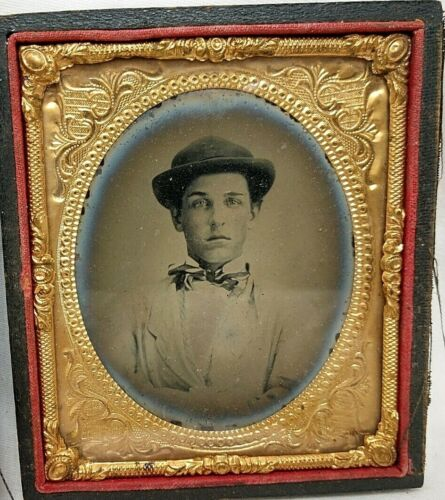 1860's Young Man w/ Cap & Bowtie Ambrotype Photograph in Case
