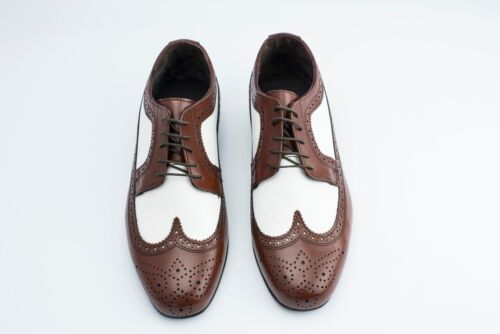 Brown and White Vintage style Wingtip Spectator shoes with Thin leather soles