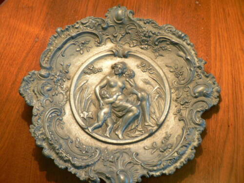 Antique Cast Spelter Plate of Semi-Nude Woman with Children