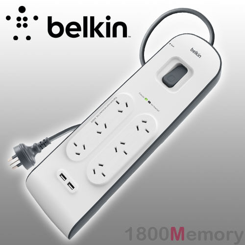 Belkin 6 Way Outlet Surge Plus Protector Board 2M Cord Cable 2 USB Ports 2.4A