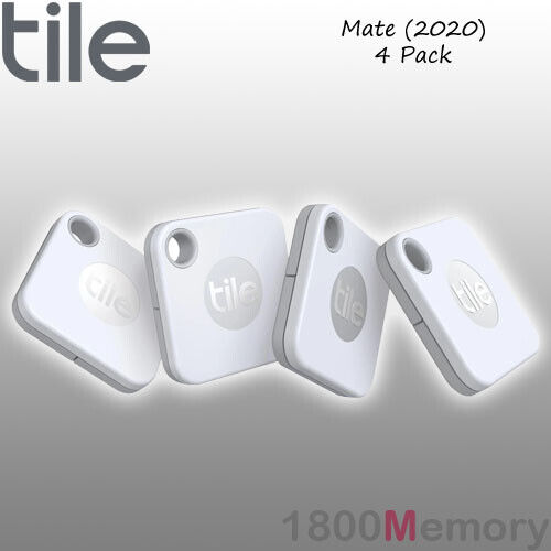 GENUINE Tile Mate Bluetooth Tracker 4 Pack with Replaceable Battery White