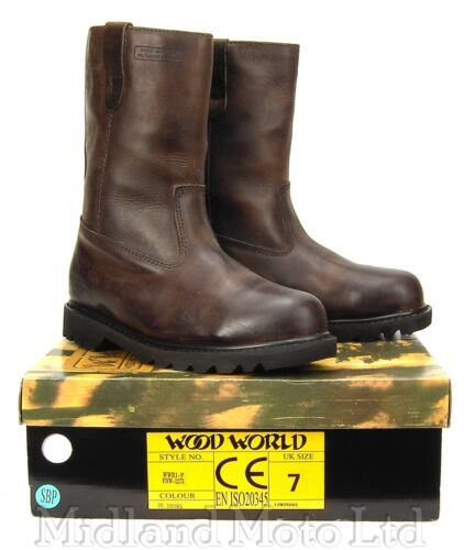 Safety Rigger Boots by Wood World Brown Leather Goodyear Welted Steel Toe Cap R1