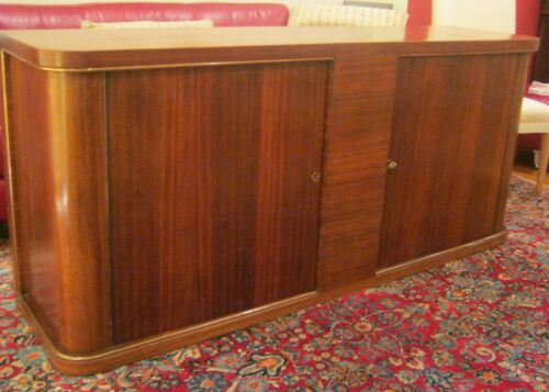 BEAUTIFUL FRENCH ART DECO ROSEWOOD BRASS MOUNTED CREDENZA CABINET CIRCA 1930