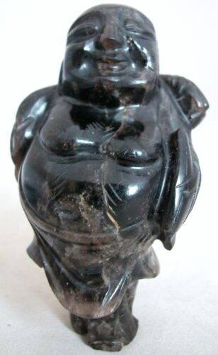 """Old Chinese Hand Carved Dark Amethyst Hotei Buddha  (3.9"""" tall, 8.25 ounces)"""